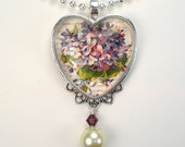 "Love Posy of Purple Violets ""Vintage Charm"" Art Glass Heart Pendant Necklace"