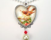 "Charming Bird Delivering a Love Letter ""Vintage Charm"" Art Glass Heart Pendant Necklace"