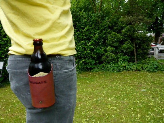 Leather beer drink holster