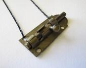 brass industrial necklace vintage door lock