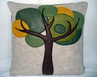 Tree Pillow Felt Pillow Decorative Pillow Green Pillow