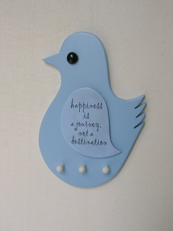"""Blue Bird Wall Key Holder """"happiness is a journey..."""""""