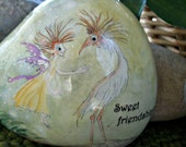 "Woodland Fairy. Original Fairy Painting. Rock. Whimsical Fairy. White Bird. Words. ""Sweet Friendship"""