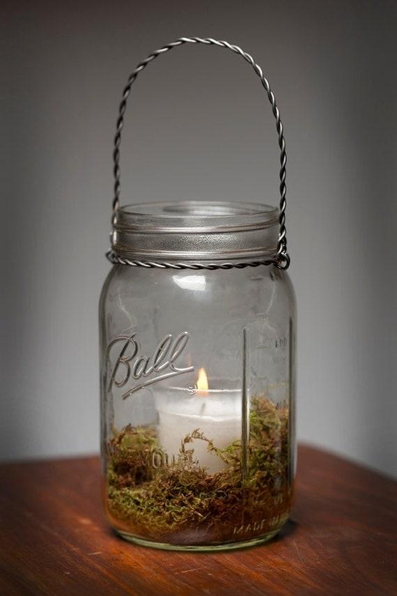 Moss hanging light mason jar lamp candle lantern wedding
