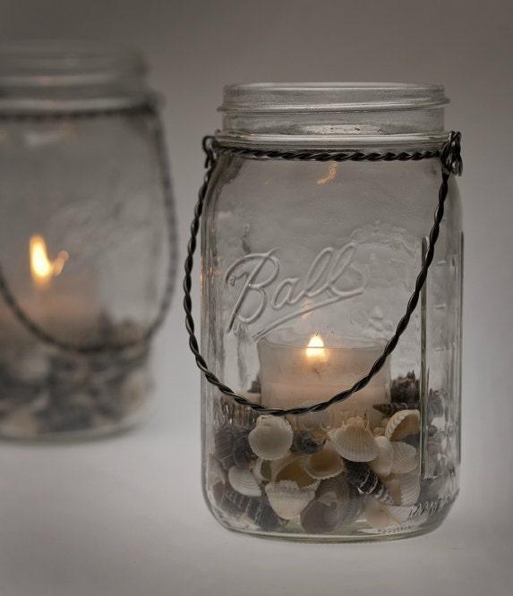 Beach Wedding Ideas Mason Jars: Seashells Hanging Light Mason Jar Lamp Candle Lantern