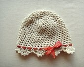 Baby Girl Crochet Hat  from 3m to 6m