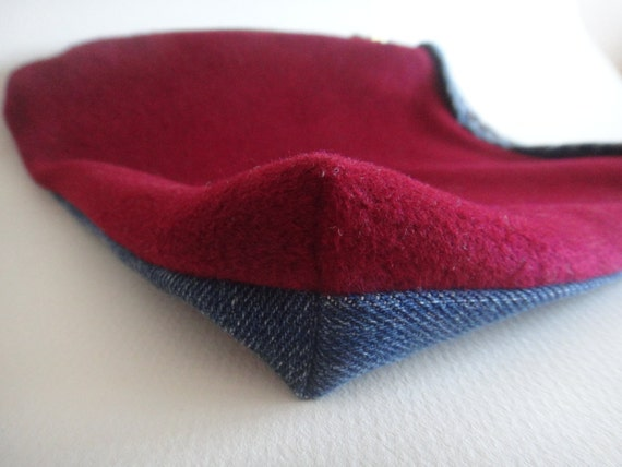 Clearance -- Recycled Denim and Felted Wool Pouch, Make-up Bag