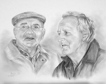 Custom 12 x 16 pencil drawing portrait. Commission a portrait from your favorite photo
