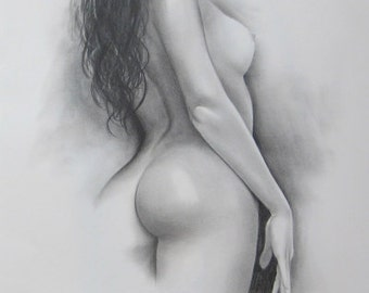 Female Nude Art, Order Nude Sketch, Handmade Drawing, Artistic Nude Sketch, Naked Woman, Black and White, Back Nude Art, Erotic Nude (3/20)