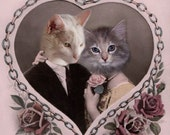 Tristan and Isolde - Vintage Cat Print - Anthropomorphic - Altered Photo - Valentines Day - Whimsical Art - Photo Collage - Love - Pink