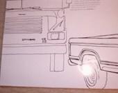 Large Upcycled Magazine Envelope- School Bus