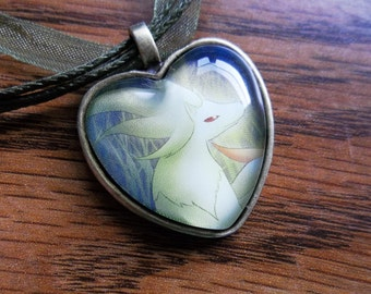 Ninetales Heart Charm Pendant made from Trading Cards