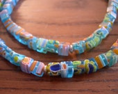 ON HOLD Mediterranean--Aqua millefiori style glass and silver disc necklace