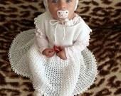 "Baby girl dress 2 patterns PDF - set of Crochet toddler lacy baby girl dress and bonnet / ""Eliska"" doll"