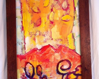 "Abstract Red and Orange Autumn Landscape 15"" X 27"""