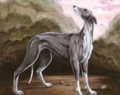 "Giclee Print of Original Greyhound Wood Panel Painting, animal art, 9x9"" paper size"