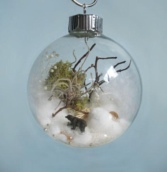 Black Bear Winter Scene Glass Ornament