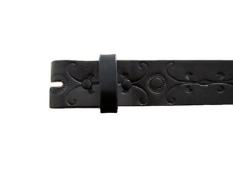 """Black Floral Vector 1.5"""" Wide Leather Belt - Available up to Size 40"""