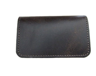 Handmade Twofold Business Leather Wallet - Available in Vintage Brown and Glossy Black