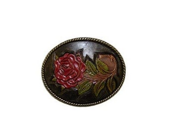 """Hand-Painted Red Rose Oval Belt Buckle - Available in Silver and Gold - Fits All 1.5"""" Wide Belts"""