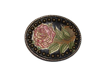 """Hand-Painted Red Rose Studded Oval Belt Buckle - Available in Silver and Gold - Fits All 1.5"""" Wide Belts"""