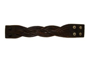 Handmade Vintage Brown Leather Braided Bracelet Cuff Wrist Band