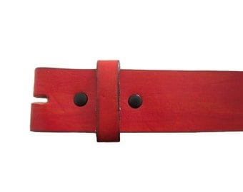 """Hand-Painted Red 1.5"""" Wide Leather Belt - Available up to Size 40"""