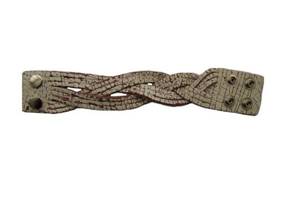 Handmade Distressed White Leather Braided Bracelet Cuff Wrist Band