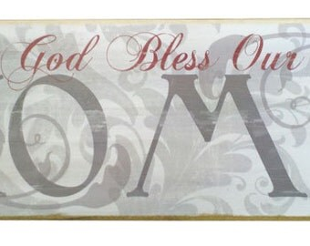 God Bless Our Home wood sign wall decor Gray and White, Shabby Chic God Bless Our Home