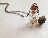 Make A Wish Necklace. LAST ONE. Teeny Glass Bottle. Baby's Breath Flowers. Natural Jewelry. Woodland. Silk Blue Rose. Vintage Style. Brass.