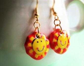 Yellow Sun Dangle Earrings. Hand Painted. Ceramic. Yellow. Orange. Fire. Summer. Cute. Summer. Beach. Fun.
