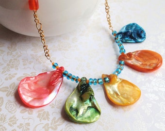 Rainbow Teardrop Shell Necklace. Gold Chain. Colorful. Summer. Beach. Seashell. Statement Necklace. Blue. Pink. Whimsical. Fun. Bright.