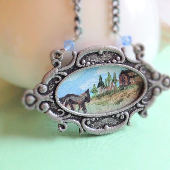 Miniature Watercolor Painted Landscape. Vintage Style. Frame Necklace. Farm House. Horse. Blue. Swarovski Crystal. Gunmetal. Silver. Summer.