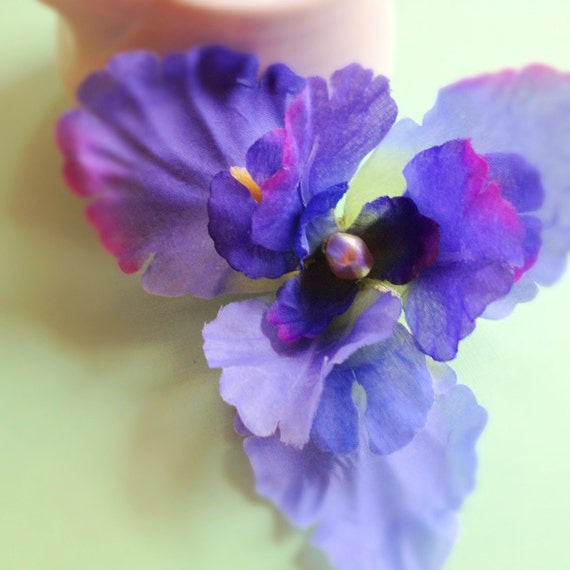 Iris Flower Hairpin. Barrette. Hair Accessory. Purple. Blue. Pearl. Fascinator. Wedding. Spring. Summer. Whimsical. Statement.
