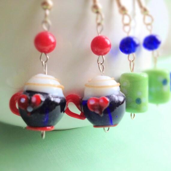 Set of 2 Latte Heart Miniature Coffee Mug Dangle Earrings. Coffee Lover. Glass. Red Heart. Whimsical. Cute. Winter. Christmas.