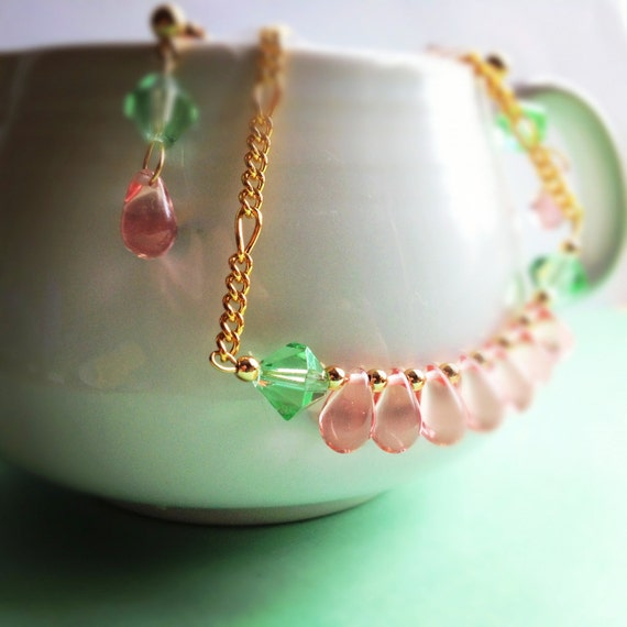 Pink Teardrop and Green Crystal Necklace/ Earring Set. Gifts for Her. Dainty. Pastel. Gold Tone. Gold Chain. Garden Colors. Romantic.