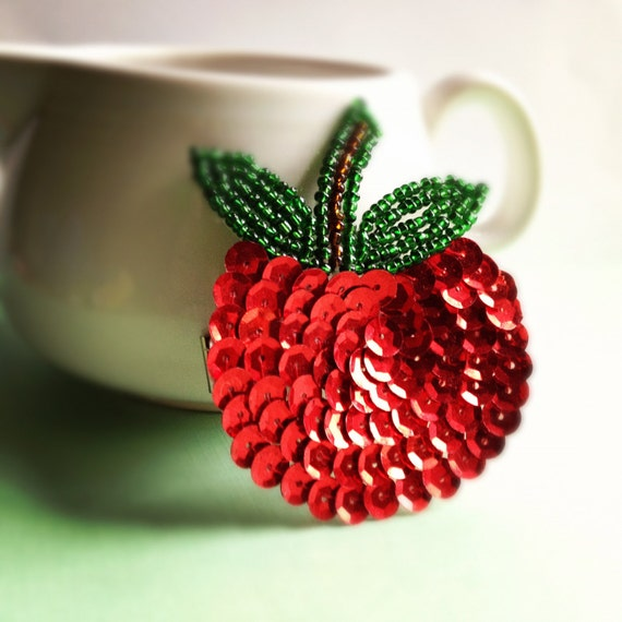 Sequin apple applique barrette, fascinator, juicy red, green, fruit hairpin- fun, whimsical, cute, bright, summer, spring, hair accessory