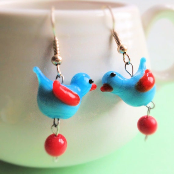 Charming Blue Bird with Red Wings Earrings- Dangle- Glass Beads, Bird Jewelry, spring, summer accessory
