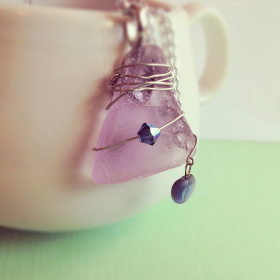 Purple Sea Glass Necklace. Wire Wrapped. Heart. Lavender. Blue. Pastel. Silver Chain. Crystal. Silver. Triangle. Nautical. Beach. Summer.