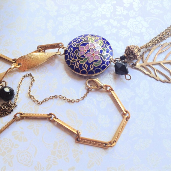 Asymmetrical Cloisonne Bead Necklace. Gold Leaf. Vintage Chain. Black Beads. Boho. Hippie. Navy. Pink. Indie. Nature Inspired. Summer.
