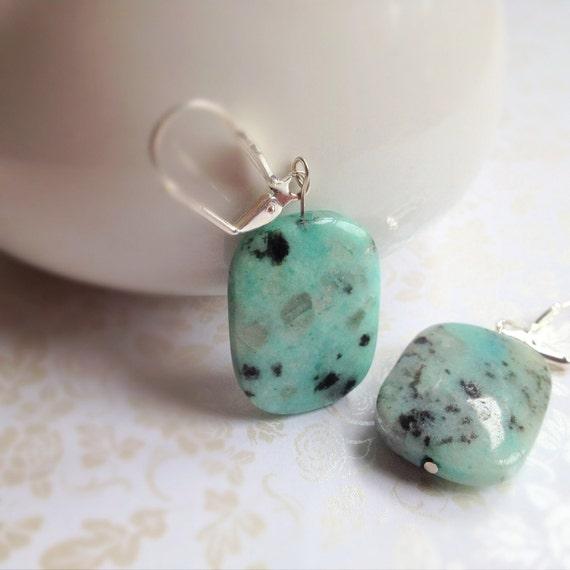Blue Dalmation Jasper Natural Stone Earrings. Aqua. Mint. Speckled Robins Egg Blue. Pastel. Rustic. Silver Tone. Dangle Earrings. Natural.