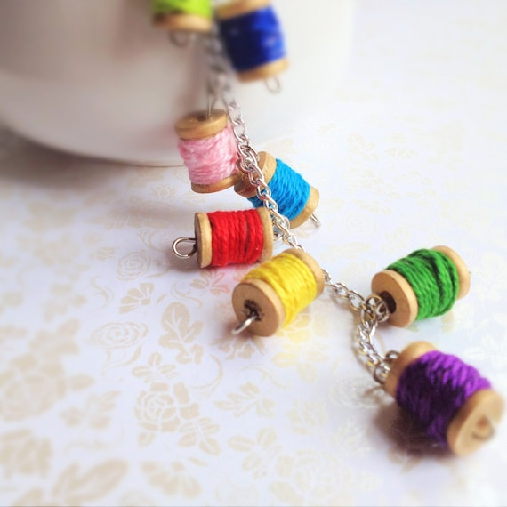 Miniature Spool Necklace. Colorful. Wood. Rainbow. Silver Chain. Bright. Whimsical. Fun. Summer. Spring. Boho. Unique. Y Necklace.