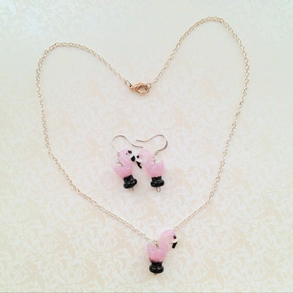 SALE- Flamingo Necklace & Earring Set. Cute. Pink. Bird Jewelry. Exotic. Kawaii. Whimsical. Glass. Miniature Animal. Summer. Silver Chain.