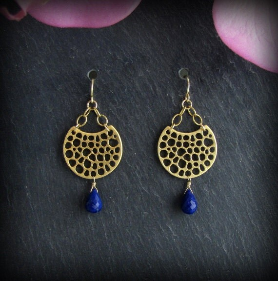 Gold Lapis Earrings - Petite Chandelier Lapis Earrings - Gemstone Earrings - Matte Finish Gold Earrings