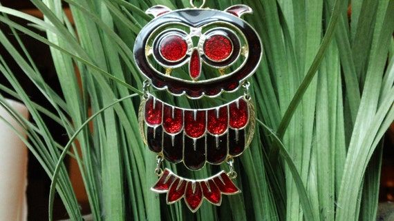 Vintage Mr. Owl Pendant and Necklace Red Enamel Glittery with 23 inch Chain
