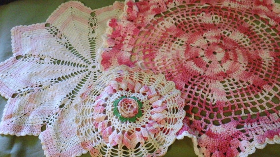Hand Crocheted Vintage Doilies Lot of 3 Pink Cream White Shabby Chic