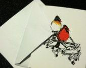 Beautiful Cardinal Note Cards  //  Set of 6  //  Blank Inside  // featuring a pair of beautiful cardinals