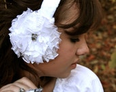 Ear muffs with Lace Flowers and Rhinestones - White Winter Wedding Earmuffs