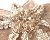 Wedding Bridal Hair Piece, Prom Formal Hair, Ivory and Gold Peacock Feather Flower Fascinator with Swarovski Gold Brooch