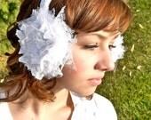 Headband Ear Muffs, Bridal Hair, Winter Wedding -- Cozy Warm Earmuffs -- White Lace and Silver Glittered Tulle